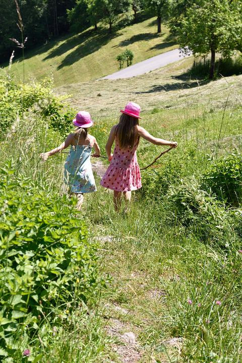 Children, Girl, Meadow, Hay, Grass, Hiking