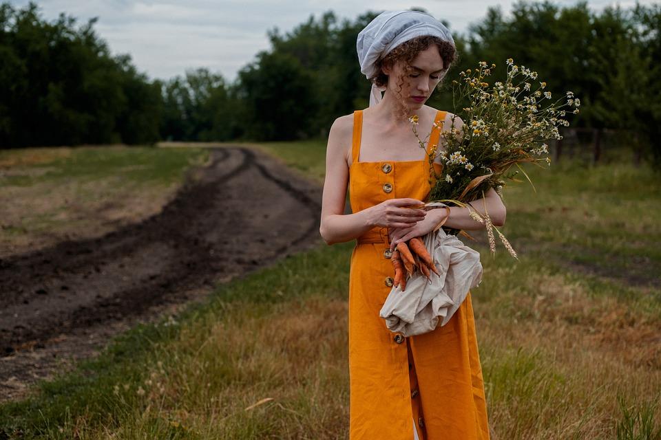 Woman, Flowers, Bouquet, Field, Wheat, Hay, Nature