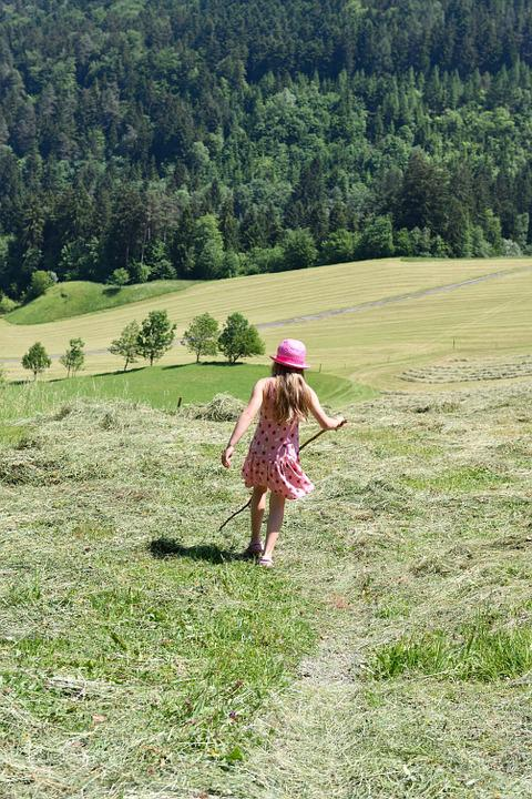 Human, Person, Child, Girl, Meadow, Nature Trail, Hay
