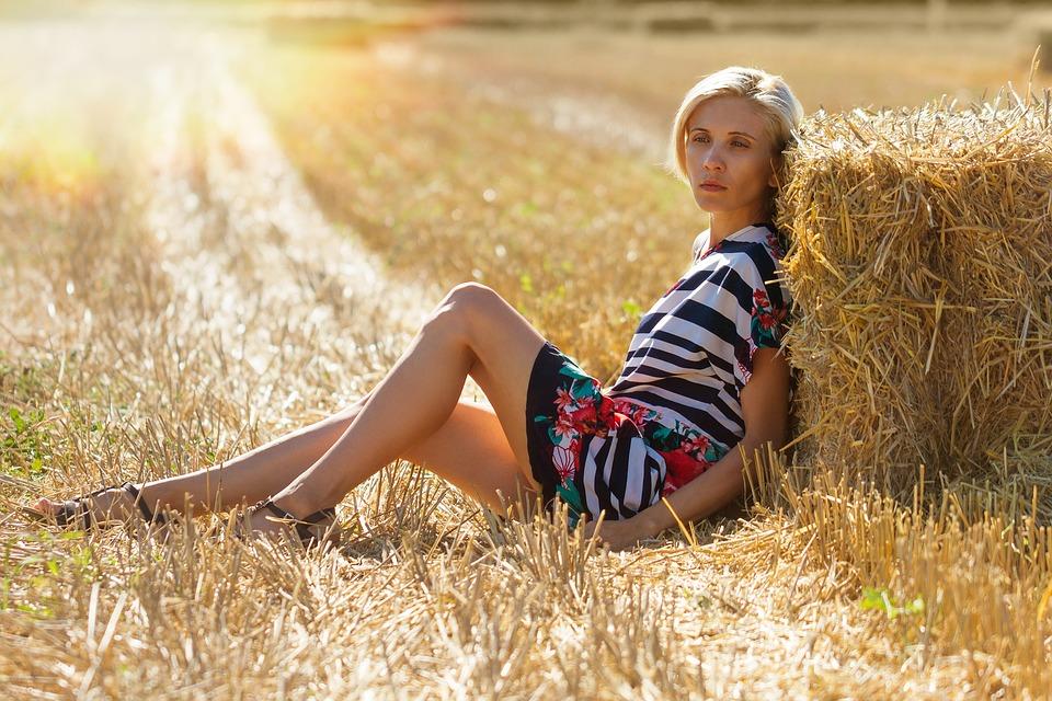 Girl, Haystack, Field, Hay, Nature, Rick, Landscape