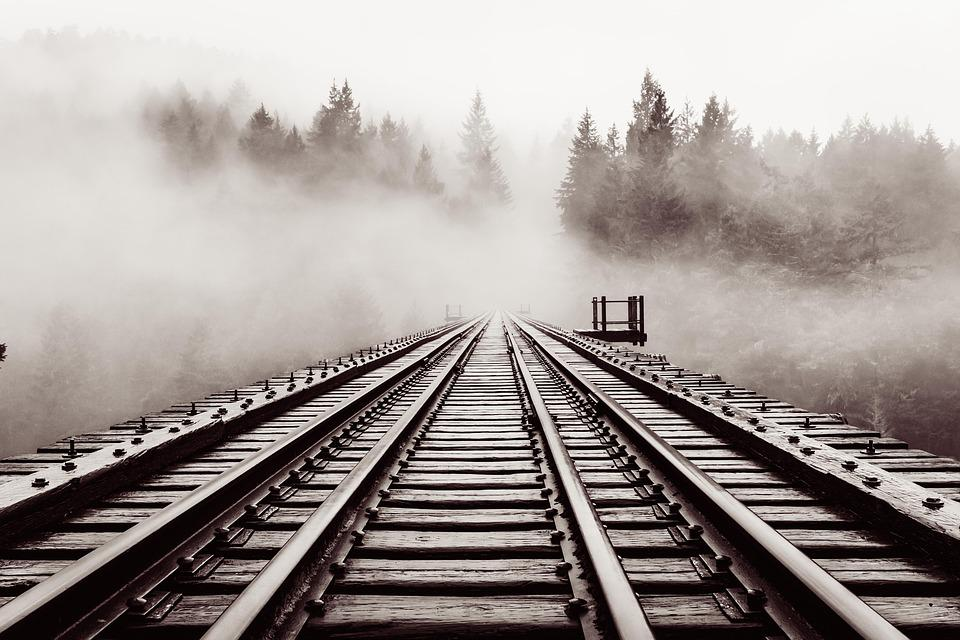 Railroad, Bridge, Old, Trestle, Haze, Forest, Moody