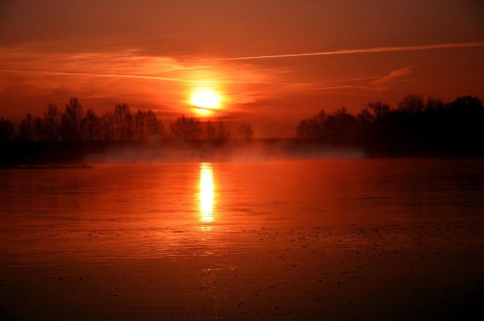 Sunrise, River, River Landscape, Haze, Fog, Mist