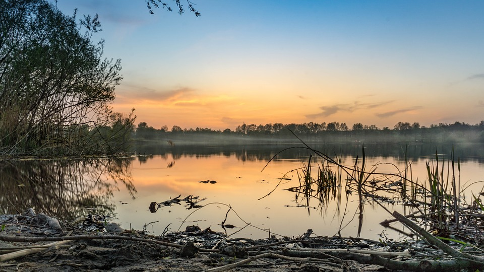 Pesochin, Ukraine, Sunset, River, Forest, Haze, Orange