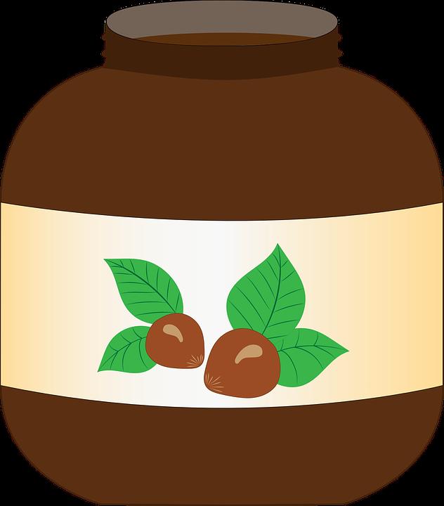 Pot, Nutella, Spread, Chocolate, Hazelnuts, Vector