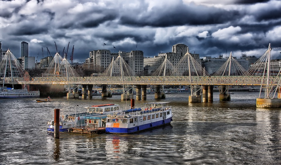 London, England, Hdr, Boats, Ships, Bridge, Buildings