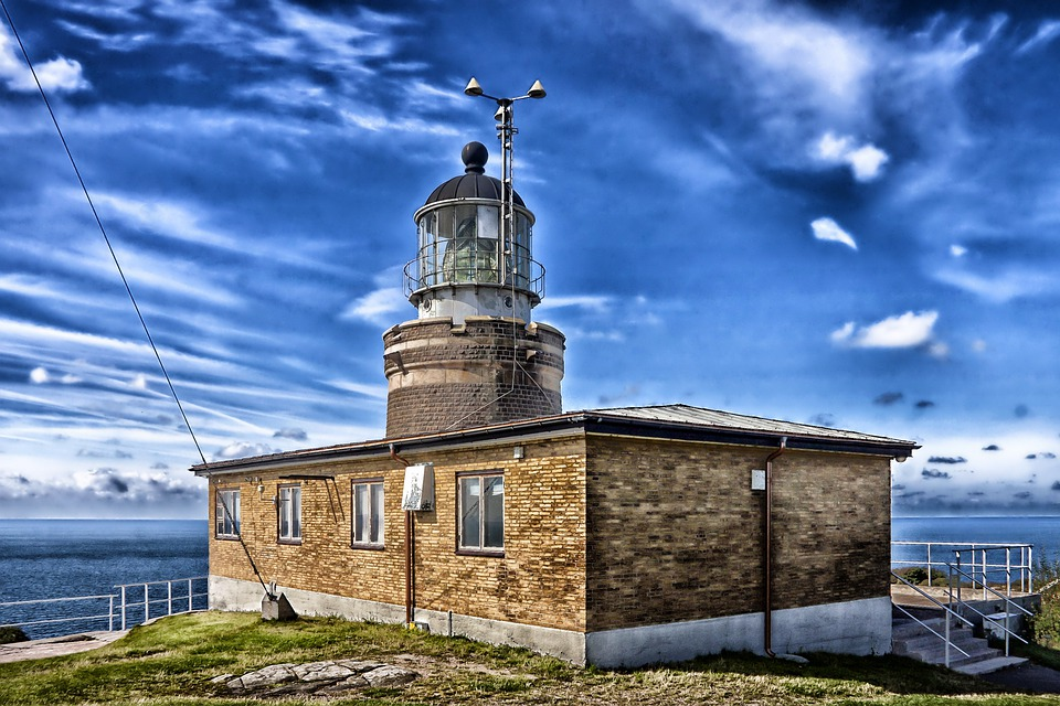 Scania, Sweden, Lighthouse, Sea, Ocean, Water, Hdr, Sky