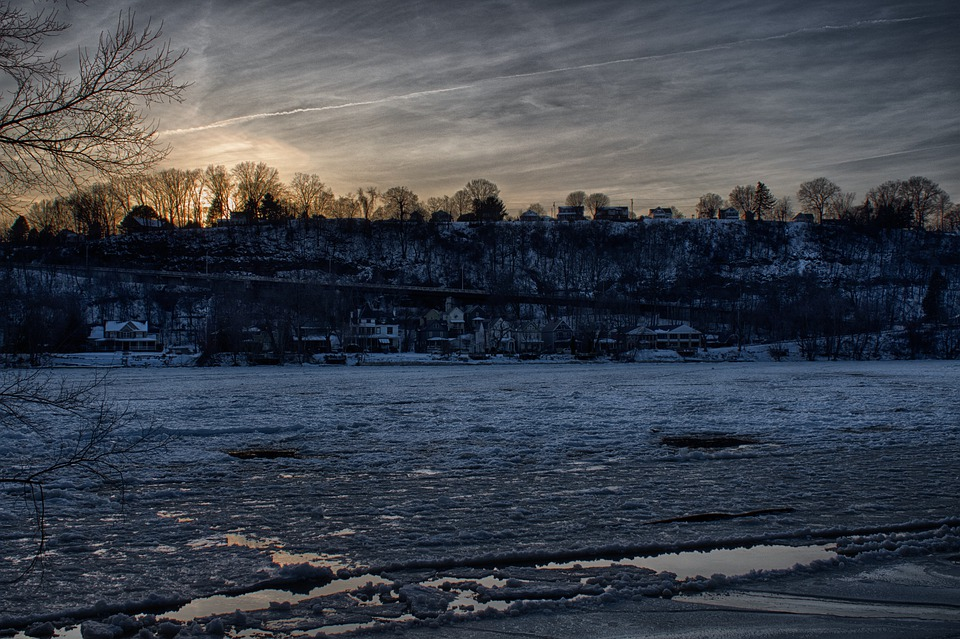 Hdr, Landscape, Winter, Trees, River, Nature, Outdoors