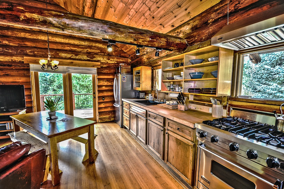Free Photo Hdr Wood Country Log Home Kitchen Log Cabin Logs