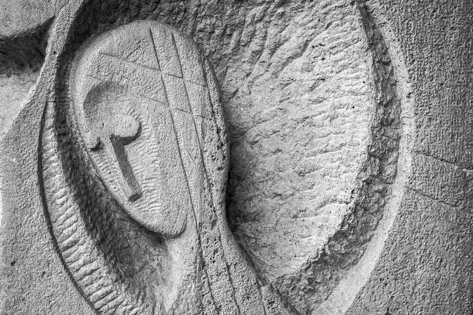 Face, Stone, Sculpture, Head, Fig, Art, Wall, Angel