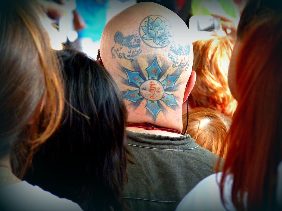 Tattoo, Crowd, Colors, Man, Head