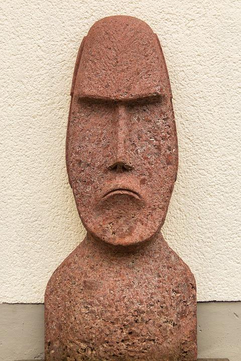 Moai, Sculpture, Head Plastic, Easter Island, Rock, Fig