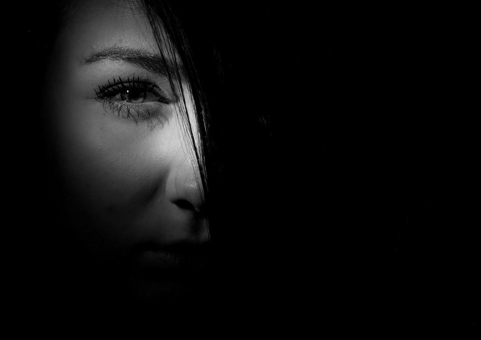 Eye, Shading, Head, Girl, Eyebrows, černobílí
