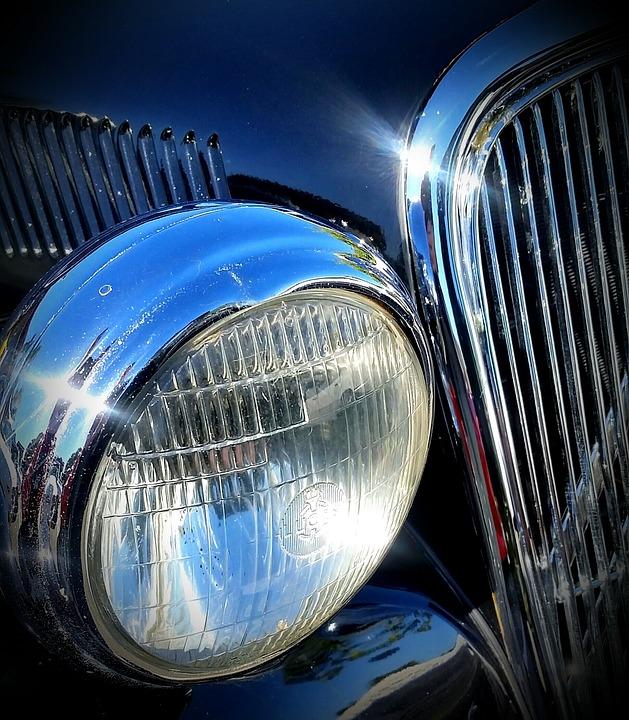 Classic Car, Vintage Car, Headlight, Chrome, Classic