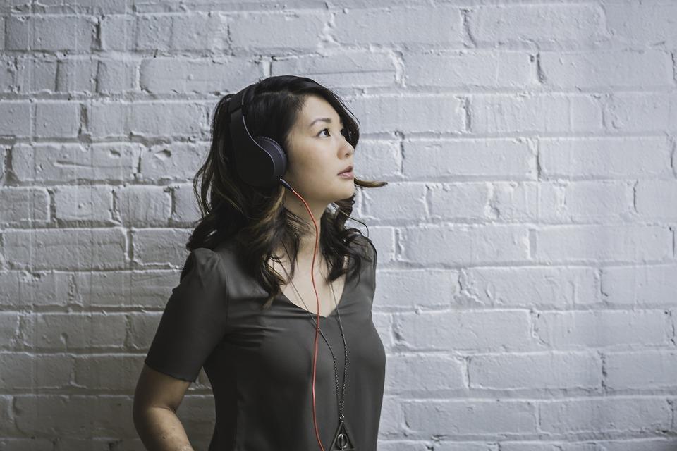 People, Woman, Headphones, Music, Sound