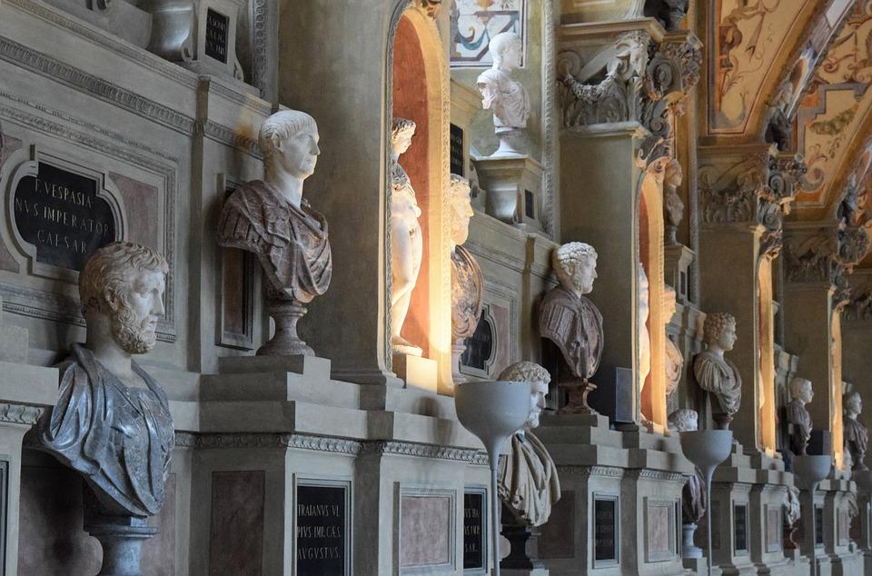 Busts, Antique, Museum, Roman, Greek, Faces, Heads