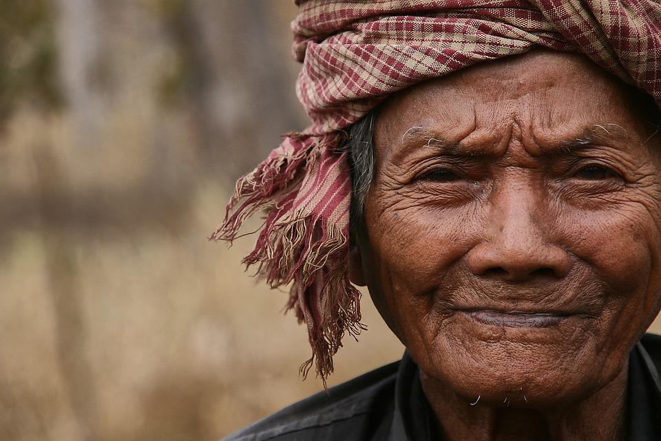 Old Man, Old, Man, Cambodia, Headscarf, Headwear