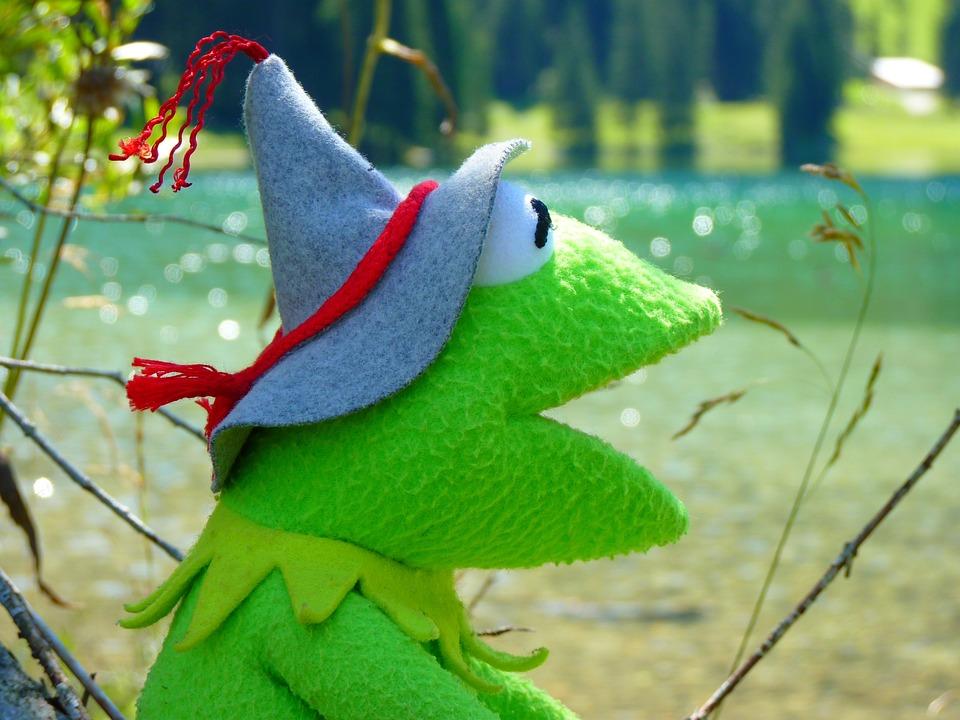 Kermit, Frog, Doll, Fig, Green, Tyrolean Hat, Headwear