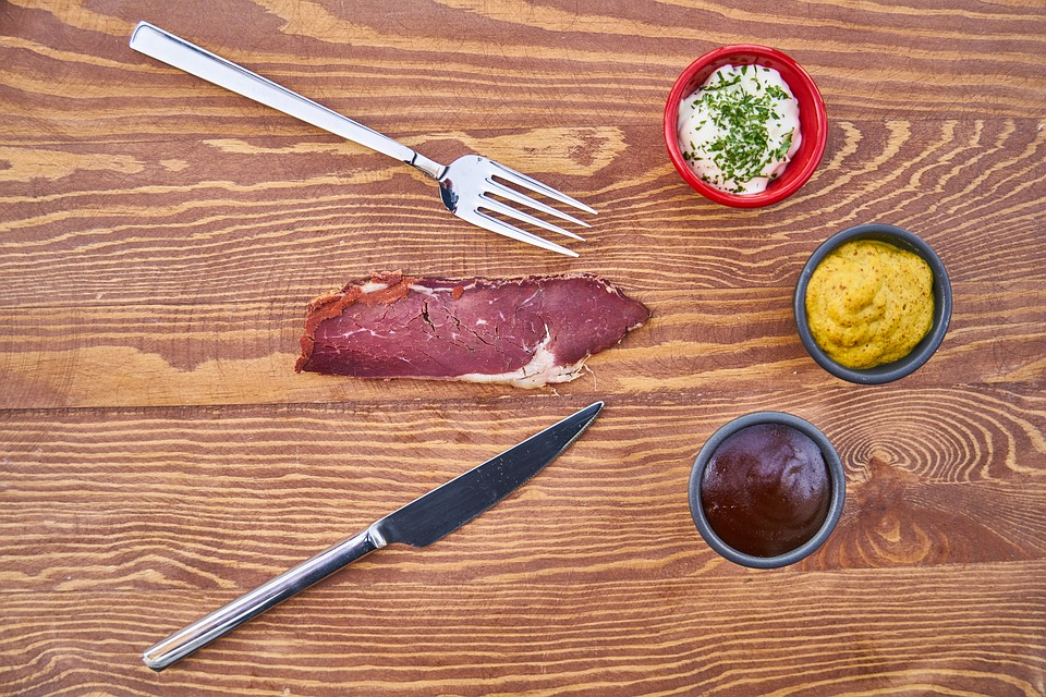 Bacon, Meat, Protein, Raw, Healthy, Fork, Knife, Food
