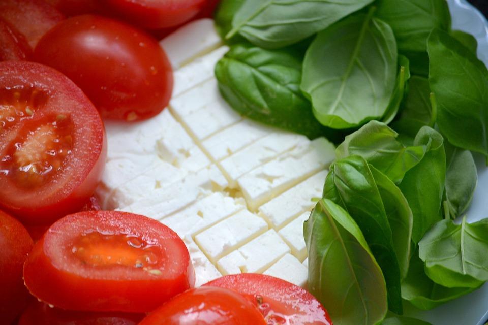 Tomato, Basil, Healthy, Frisch, Feta Cheese, Italian