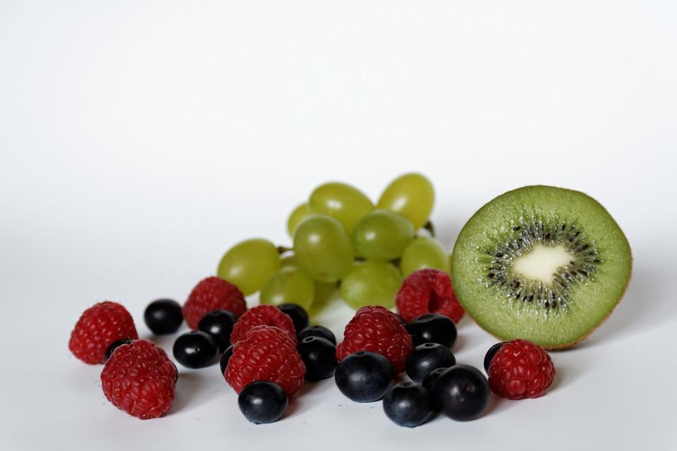 Blueberries, Raspberries, Grapes, Kiwi, Fruit, Healthy