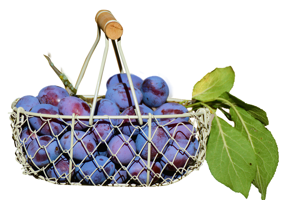 Plums In The Basket, Fruit, Isolated, Food, Healthy