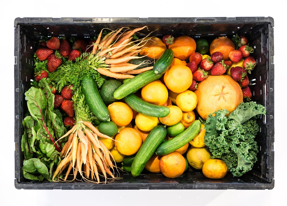 Fruit, Vegetables, Box, Healthy, Food, Strawberries