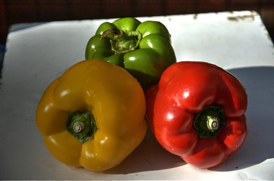 Peppers, Red Green Yellow, Vegetable, Healthy