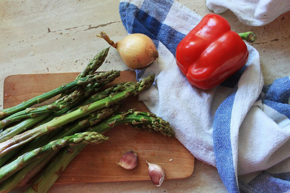 Eating, Vegetable, Wooden, No One, Healthy, Asparagus