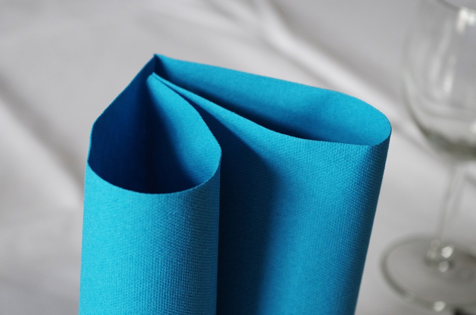 A Napkin, Heart, Blue, Table Manners, Place Setting