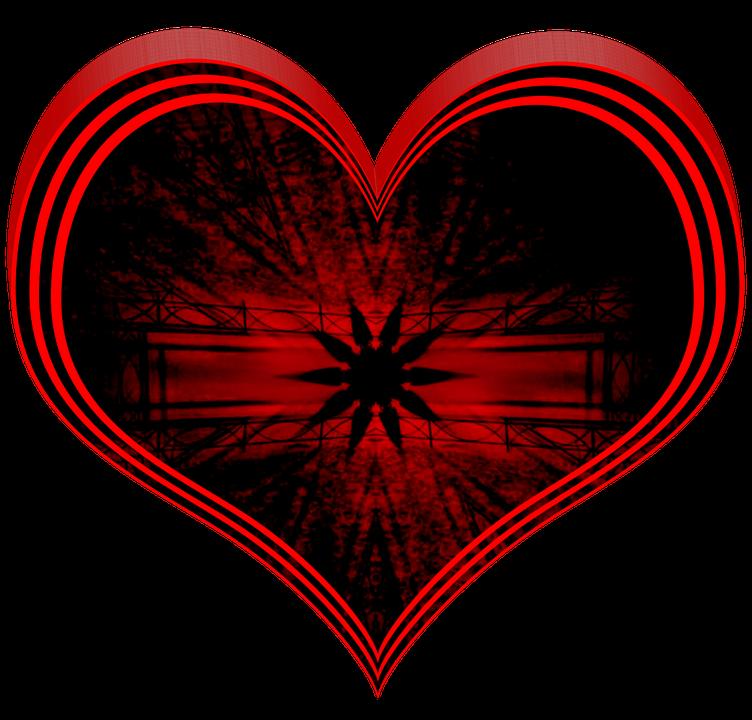 Love, Heart, 3d, Red, Black