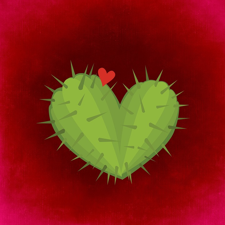 Heart, Cactus, Love, Valentine's Day, Greeting Card