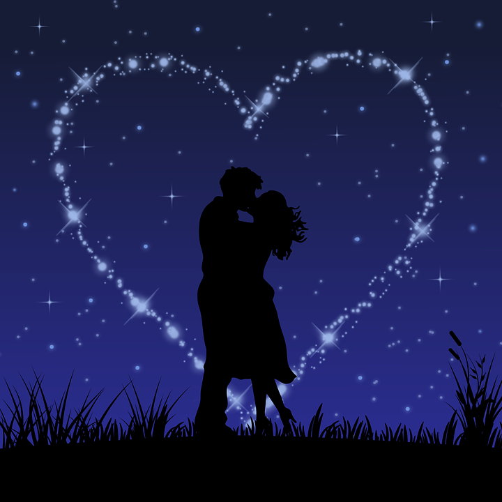 Couple, Heart, Night, Star