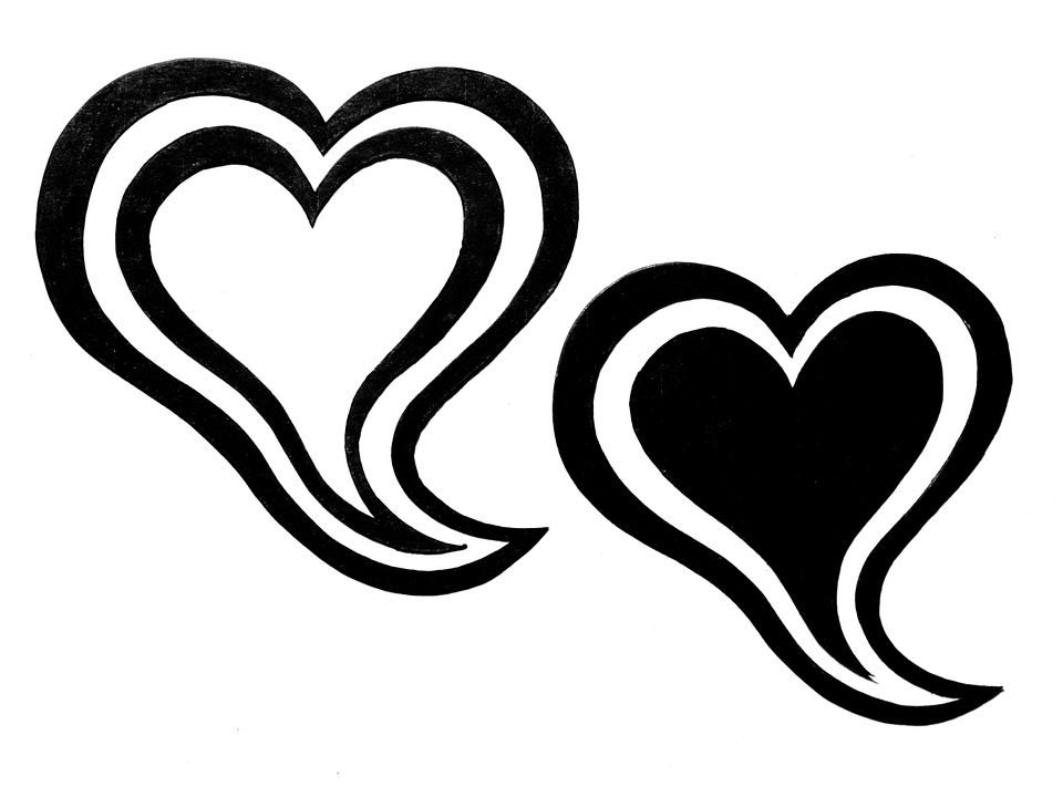 Free Photo Heart Double Heart Black And White Max Pixel