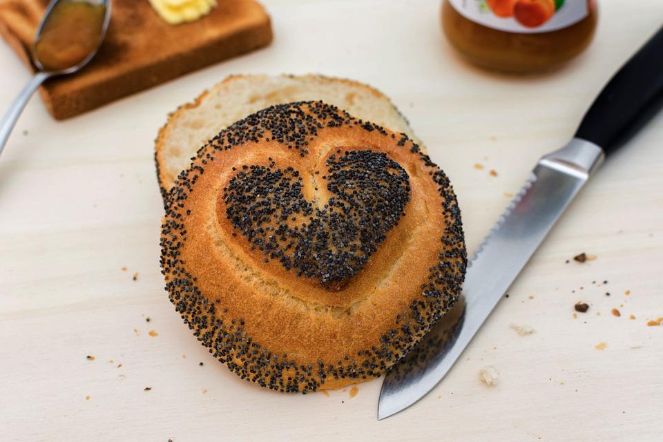Roll, Heart, Knife, Poppy, Breakfast, Eat