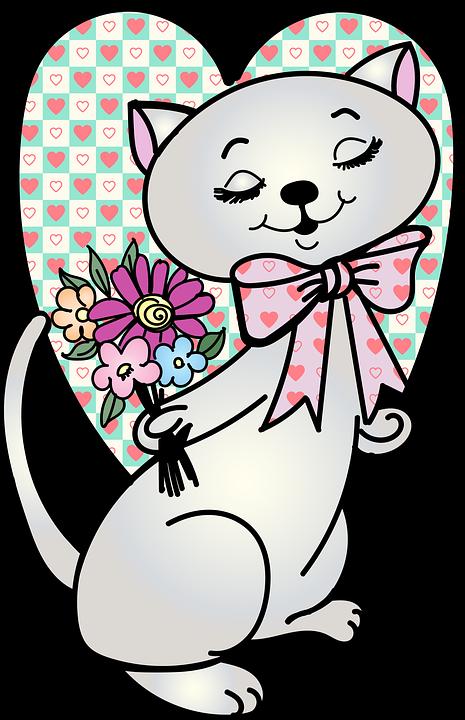 Cat, Flowers, Valentine, Vintage Valentine, Heart, Love