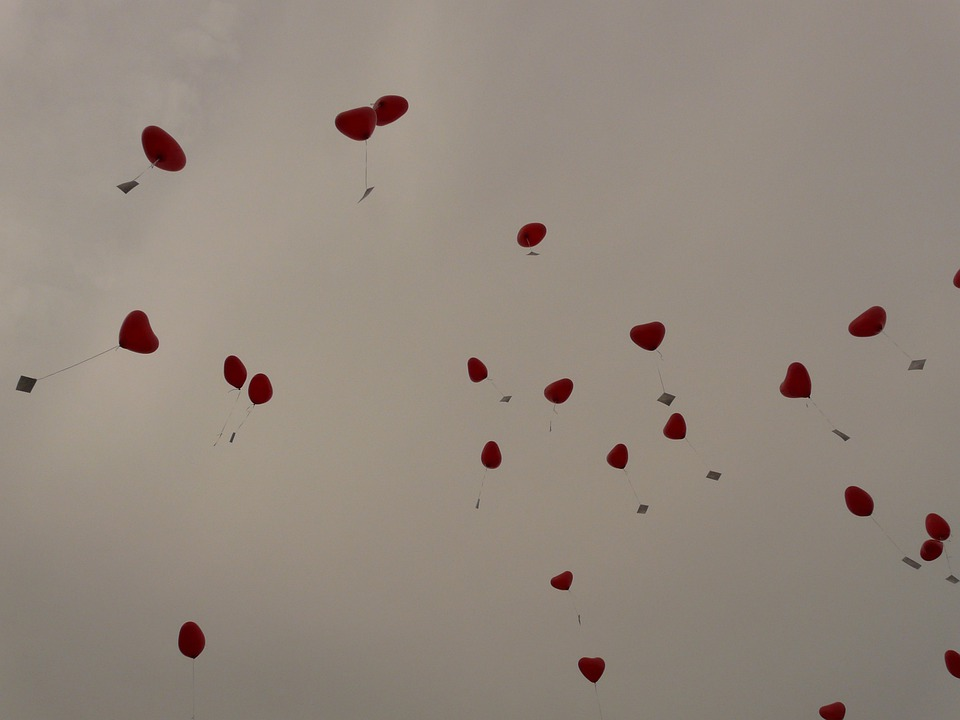 Balloons, Heart, Love, Cards, Fly, Romance