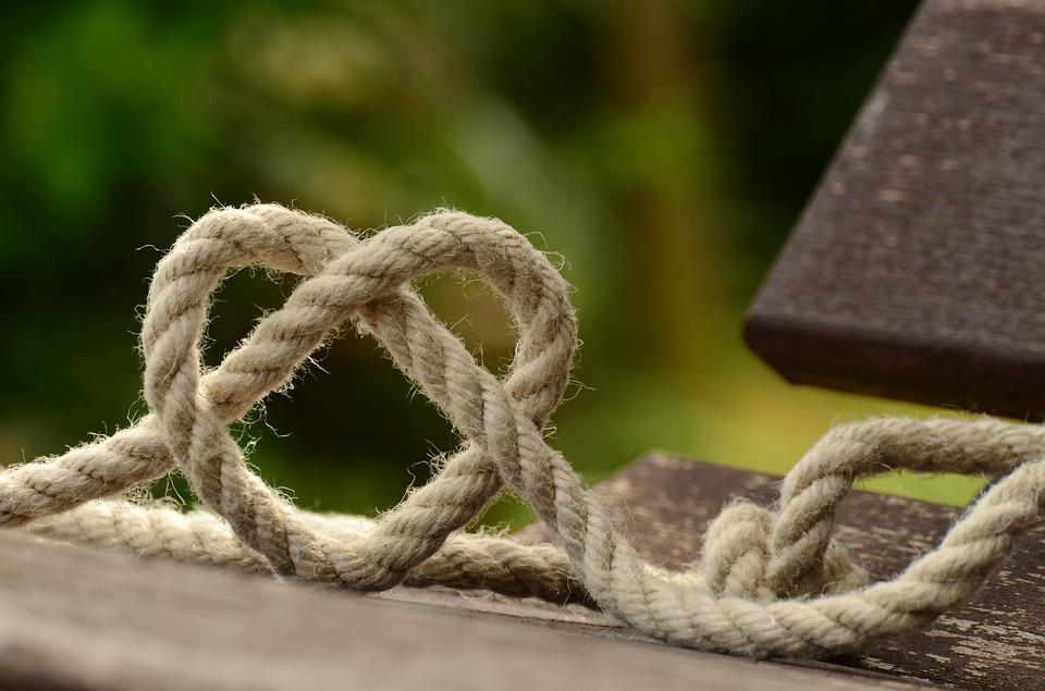 Rope, Knitting, Heart, Love, Together, Friendship, Knot