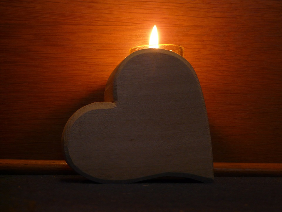 Heart, Wood, Candle, Light, Flame, Hell, Romantic