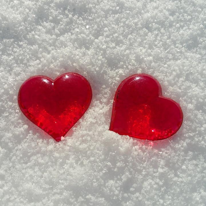 Valentine's Day, Heart, Snow, Love, Background Image