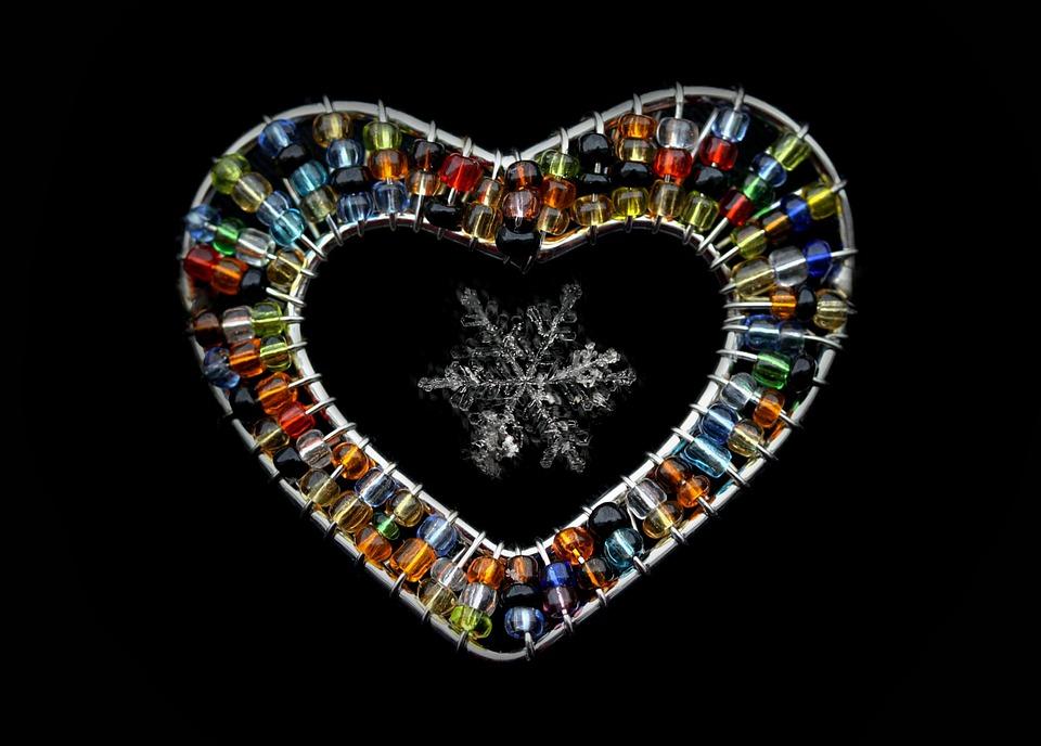 Snowflake, Macro, Heart, Gem, Natural
