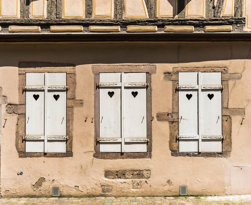 Heart, Shutter, Facade, Nostalgia, Home, Old