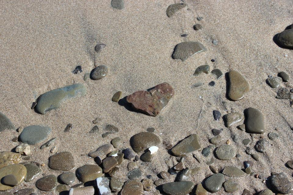 Sand, Rocks, Pebbles, Heart, Shaped, Beach, Nature