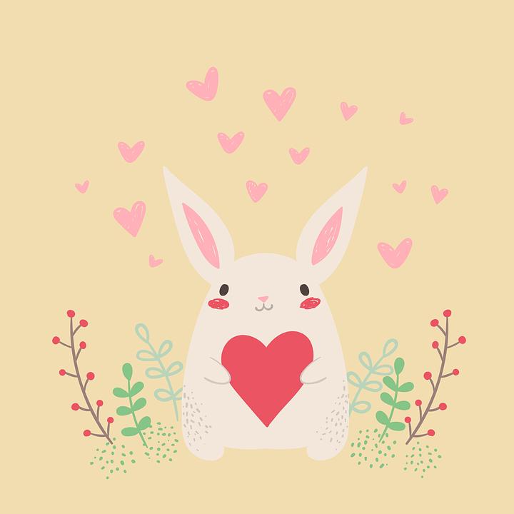 Rabbit, Heart, Cute, Valentine, Postcard
