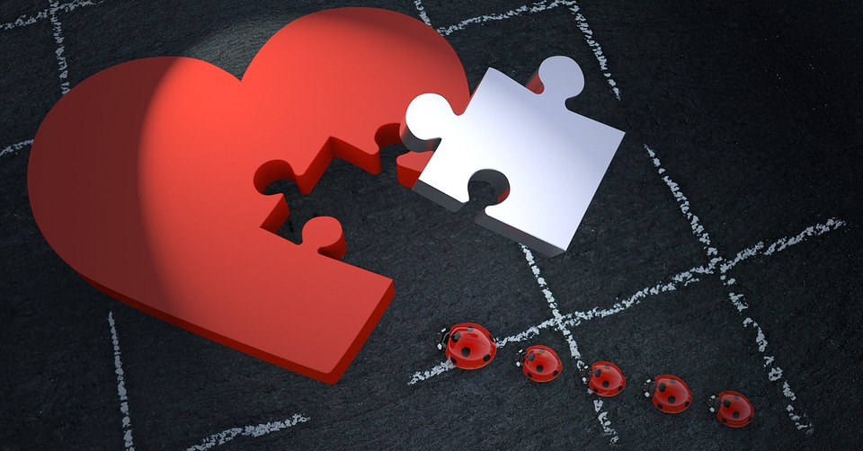 Lucky Ladybug, Heart, Puzzle, Joining Together