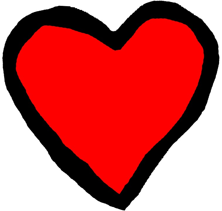 Heart, Red, Black, Background, Isolated, Graphically