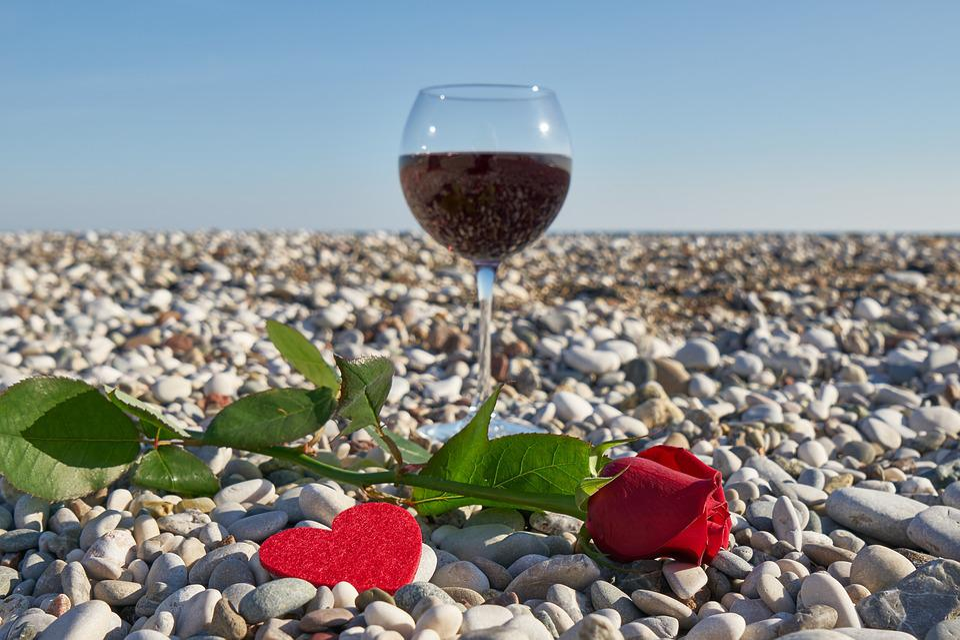 Wine, Valentine's Day, Love, Romance, Romantic, Heart
