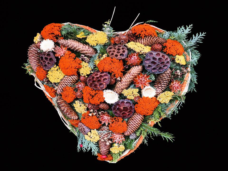 Autumn, Heart, Arrangement, Decoration, Heart Shaped