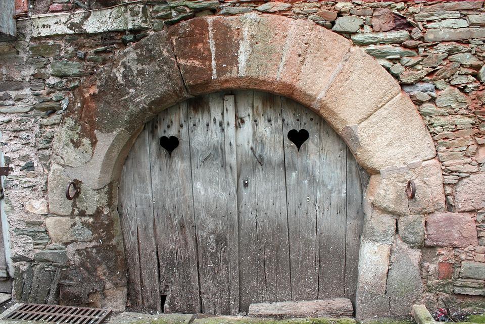 Old Door, Heart Shapes, Ancient Door With Hearts