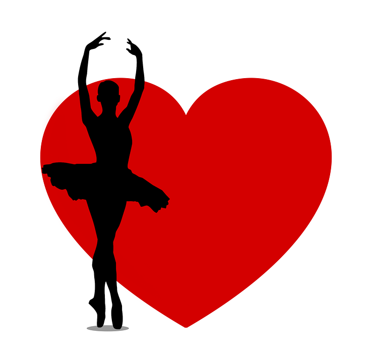 Dancer, Silhouette, Heart, Female, Women