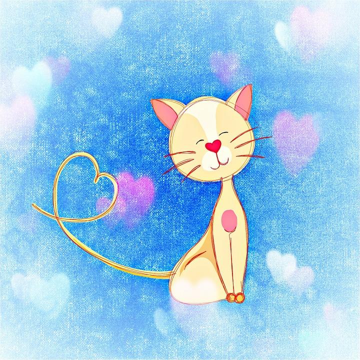 Cat, Heart, Cute, Smooch, Love
